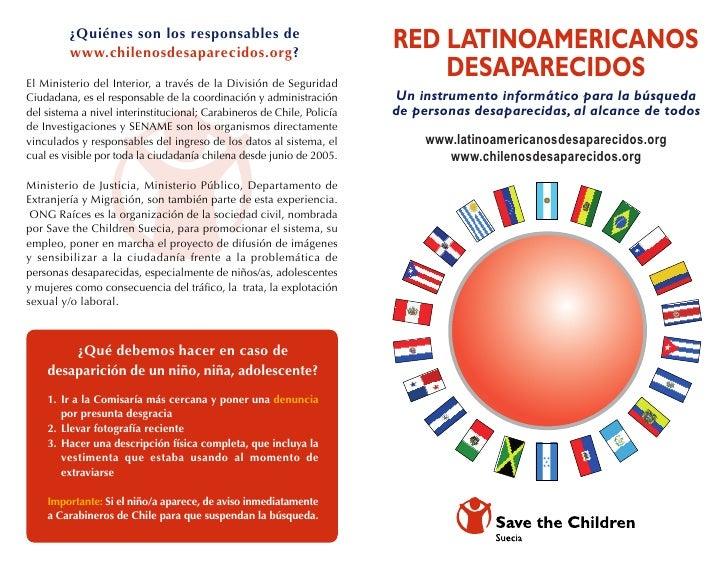Díptico Chilenosdesaparecidos ONG RAICES