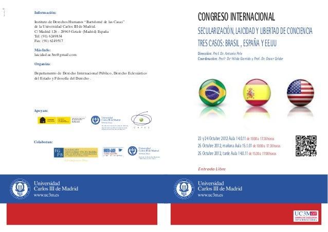 Díptico del Congreso Internacional Secularización,Laicidad y Libertad de conciencia.Tres casos:España,EE.UU y Brasil
