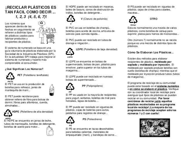 ¡RECICLAR PLÁSTICOS ES                          El HDPE puede ser reciclado en macetas,        El PS puede ser reciclado e...
