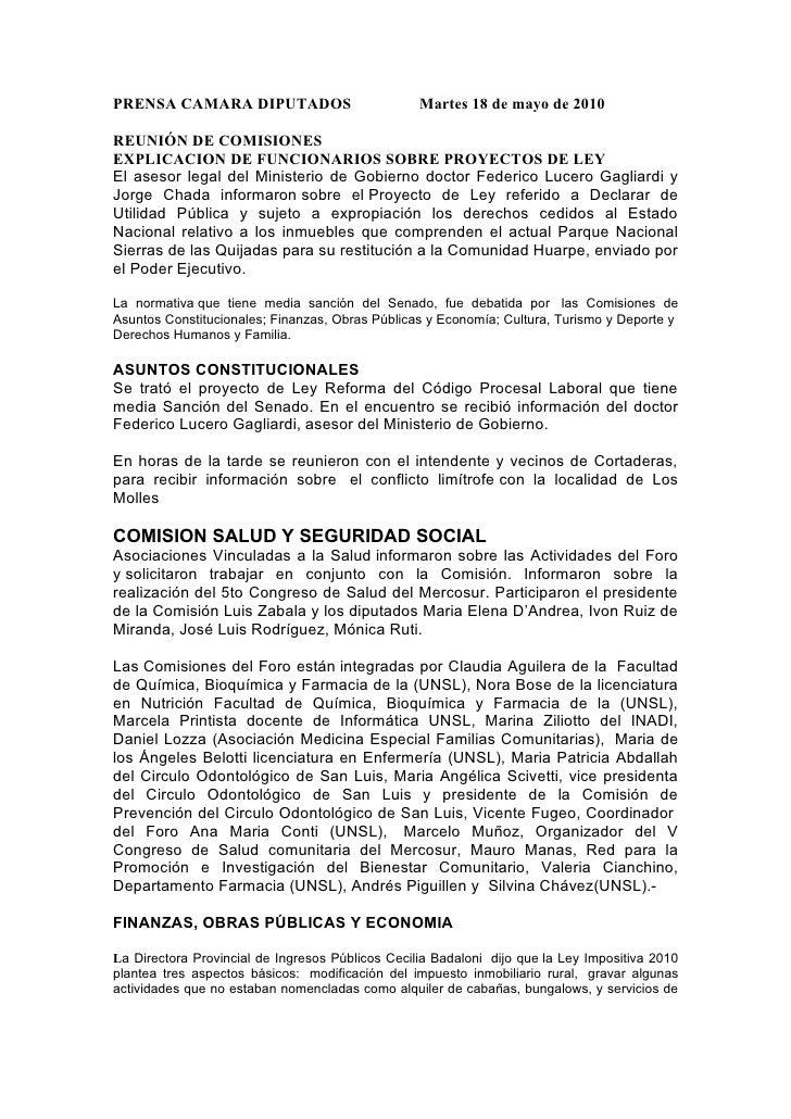 PRENSA CAMARA DIPUTADOS                           Martes 18 de mayo de 2010  REUNIÓN DE COMISIONES EXPLICACION DE FUNCIONA...