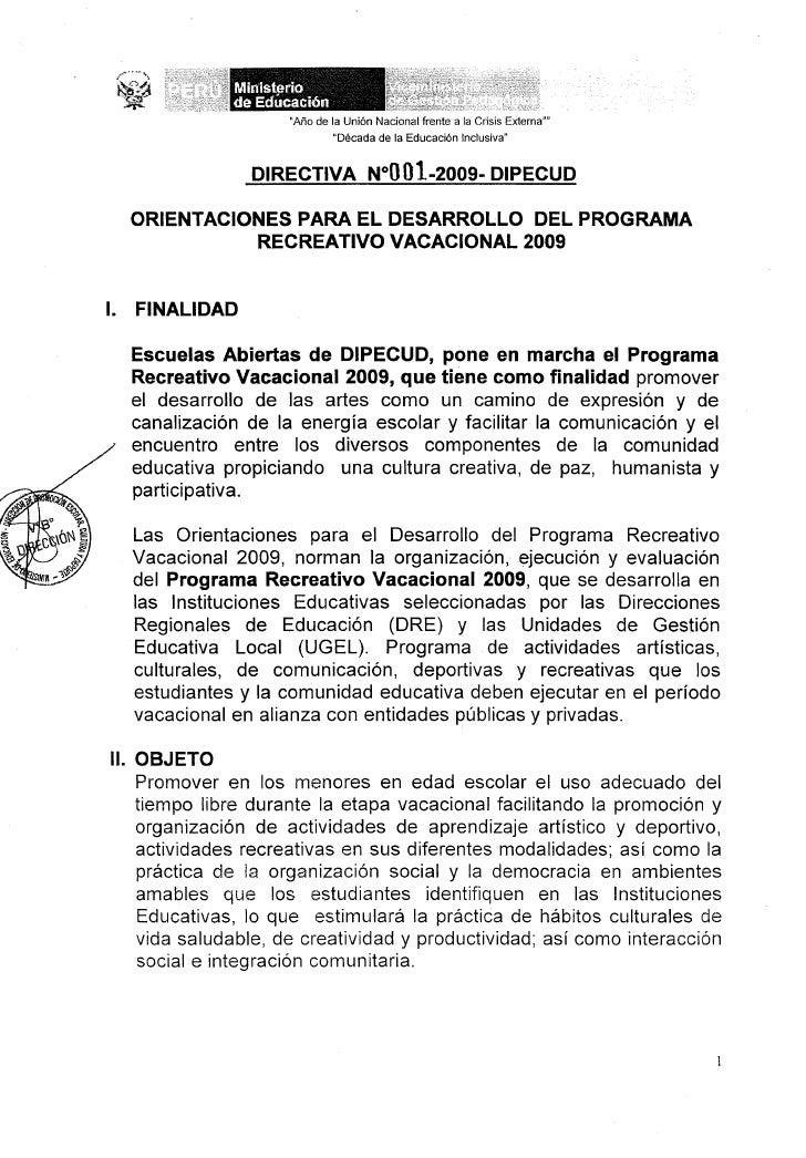 PROGRAMA RECREATIVO VACACIONAL 2009