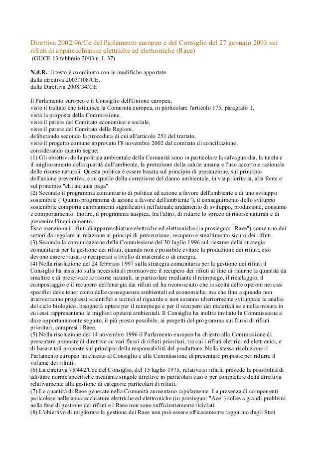 Direttiva 2002/96/Ce del Parlamento europeo e del Consiglio del 27 gennaio 2003 sui rifiuti di apparecchiature elettriche ...