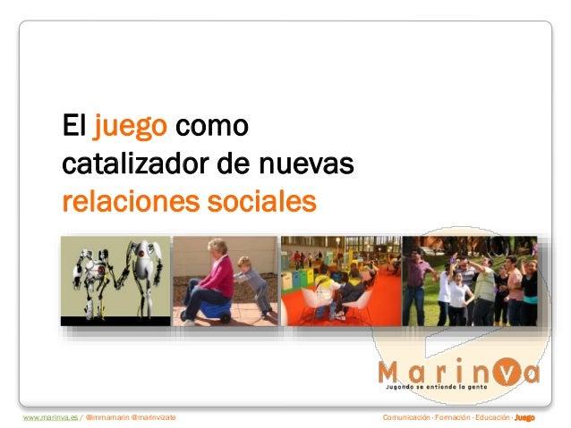 Comunicación · Formación · Educación · Juegowww.marinva.es / @immamarin @marinvizate El juego como catalizador de nuevas r...