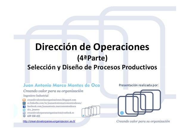 Dirección de Operaciones (4ªParte) Selección y Diseño de Procesos ProductivosSelección y Diseño de Procesos Productivos ht...