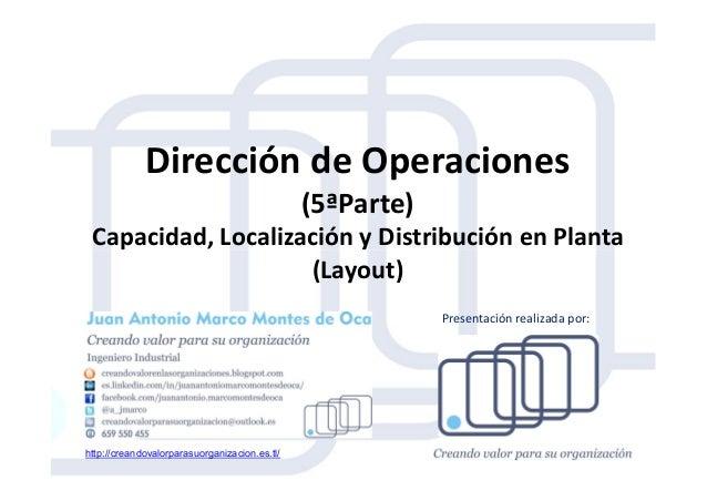 Dirección de Operaciones (5ªParte) Capacidad, Localización y Distribución en PlantaCapacidad, Localización y Distribución ...