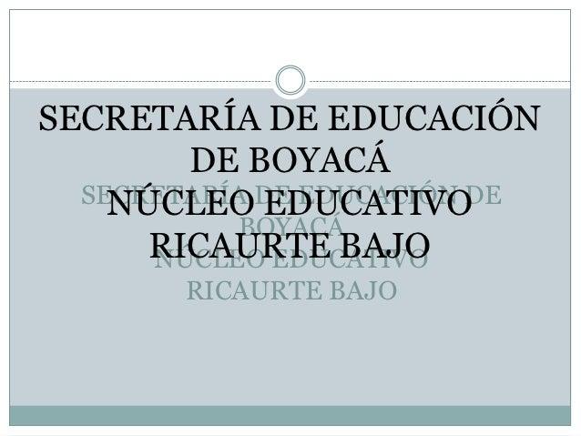 SECRETARÍA DE EDUCACIÓN        DE BOYACÁ  SECRETARÍA DE EDUCACIÓN DE    NÚCLEO EDUCATIVO           BOYACÁ      RICAURTE BA...
