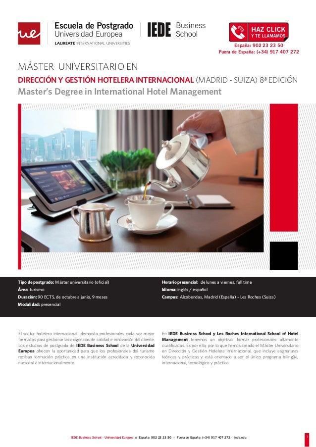 Master Universitario en Dirección y Gestión Hotelera Internacional (Madrid-Suiza)