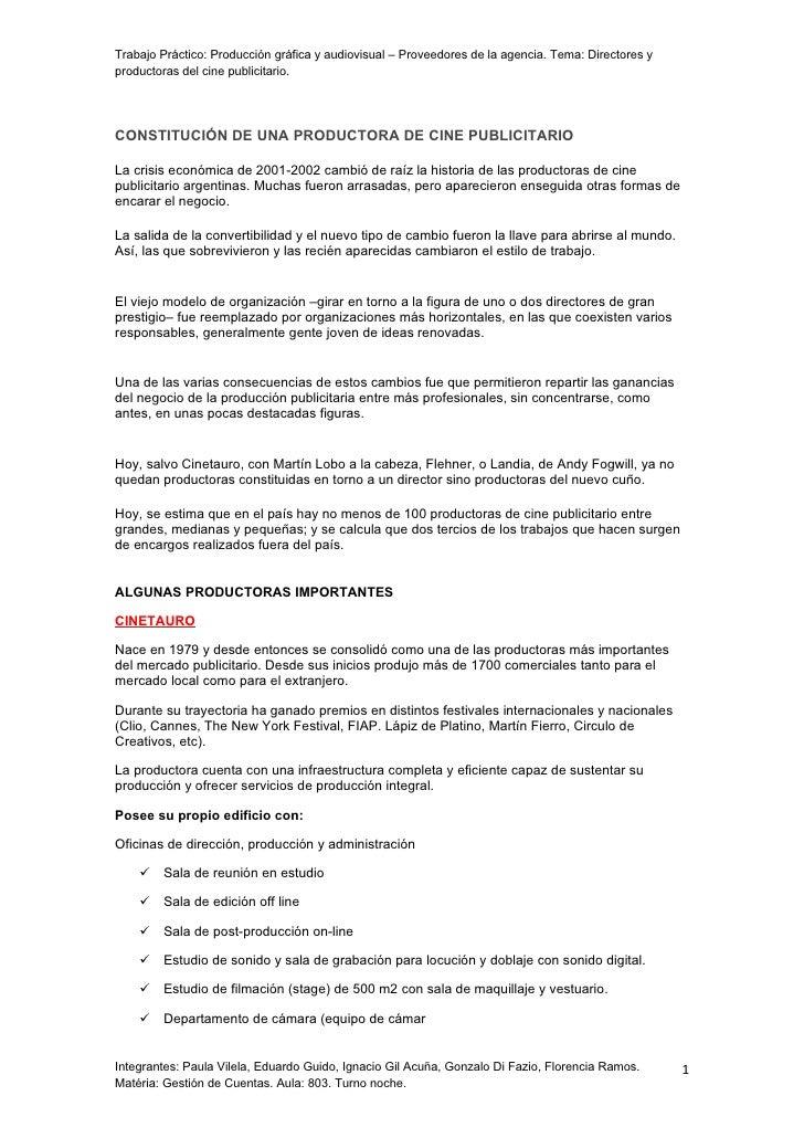 Direccion Y Produccion De Cine Publicitario/Turno Noche