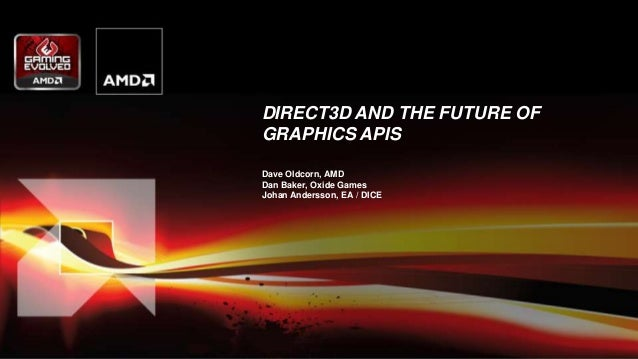 DIRECT3D AND THE FUTURE OF GRAPHICS APIS Dave Oldcorn, AMD Dan Baker, Oxide Games Johan Andersson, EA / DICE