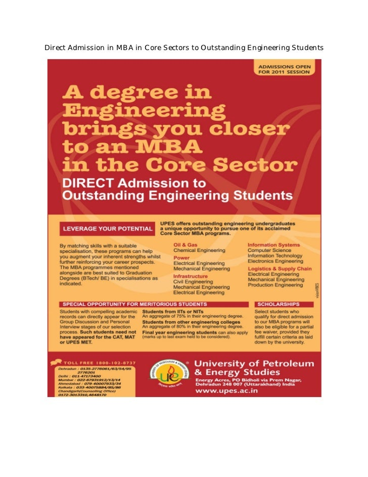 Direct Admission in MBA in Core Sectors to Outstanding Engineering Students
