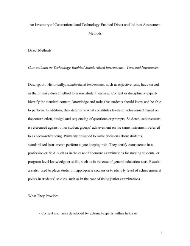 An Inventory of Conventional and Technology-Enabled Direct and Indirect Assessment                                        ...