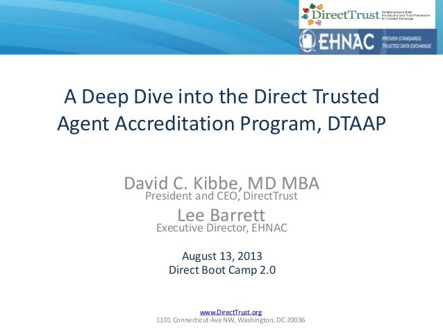 www.DirectTrust.org 1101 Connecticut Ave NW, Washington, DC 20036 A Deep Dive into the Direct Trusted Agent Accreditation ...