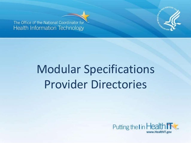 Modular Specifications Provider Directories