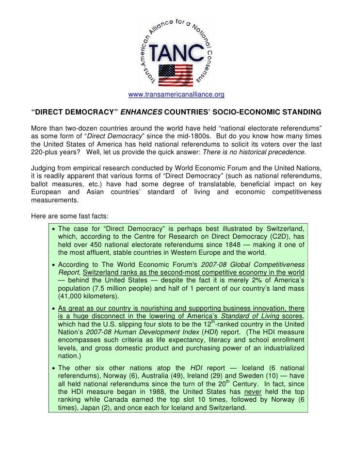 "www.transamericanalliance.org  ""DIRECT DEMOCRACY"" ENHANCES COUNTRIES' SOCIO-ECONOMIC STANDING  More than two-dozen countri..."