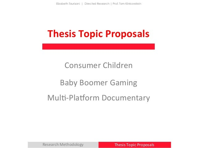 proposals for thesis Dissertation proposals the pre­proposal stage • the dissertation proposal process is long and iterative – for many people it is at.
