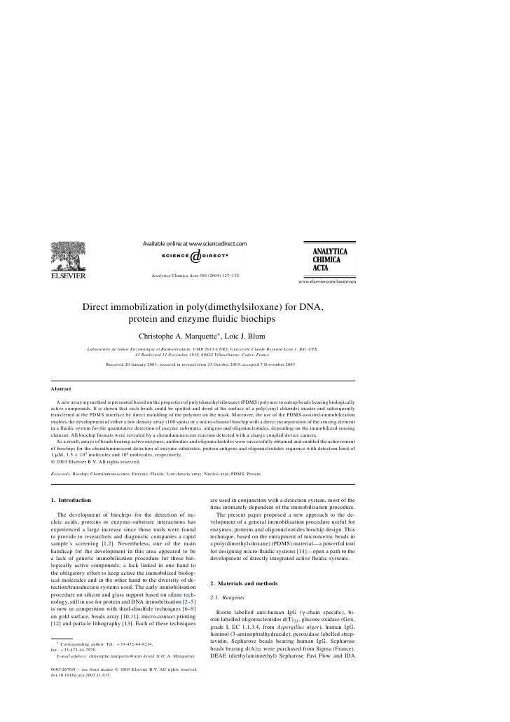 Analytica Chimica Acta 506 (2004) 127–132                    Direct immobilization in poly(dimethylsiloxane) for DNA,     ...