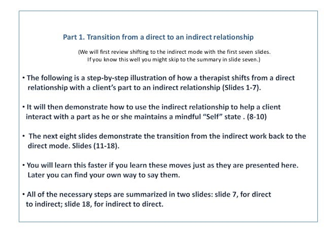 Part 1. Transition from a direct to an indirect relationship (We will first review shifting to the indirect mode with the ...