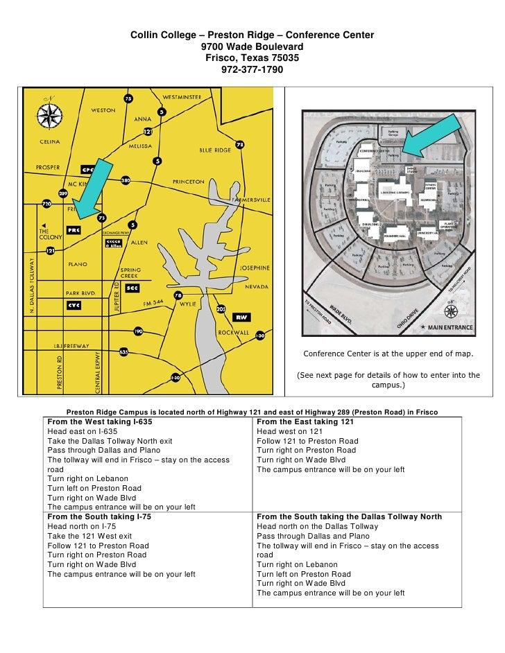 Collin College – Preston Ridge – Conference Center                                      9700 Wade Boulevard               ...