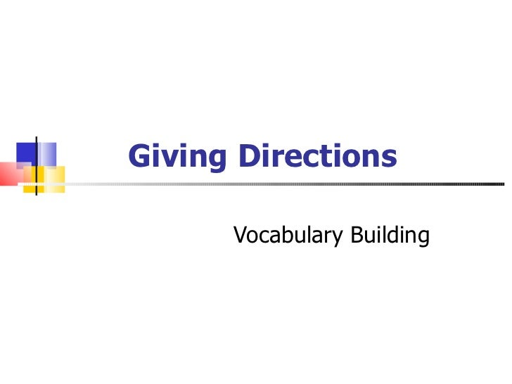 Giving Directions Vocabulary Building
