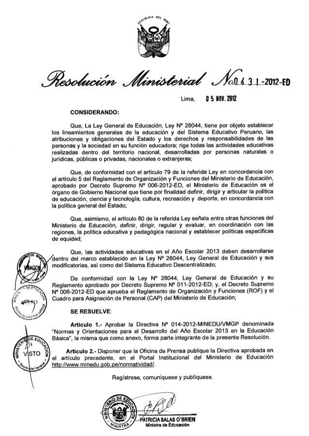 Directiva 014-2012-minedu-vmgp