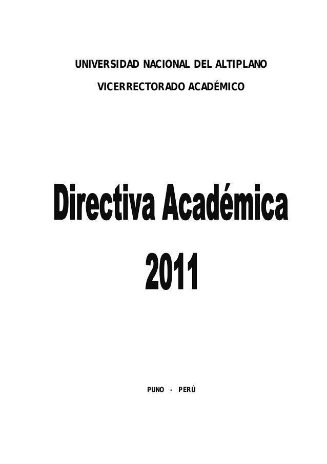 UNIVERSIDAD NACIONAL DEL ALTIPLANO VICERRECTORADO ACADÉMICO PUNO - PERÚ