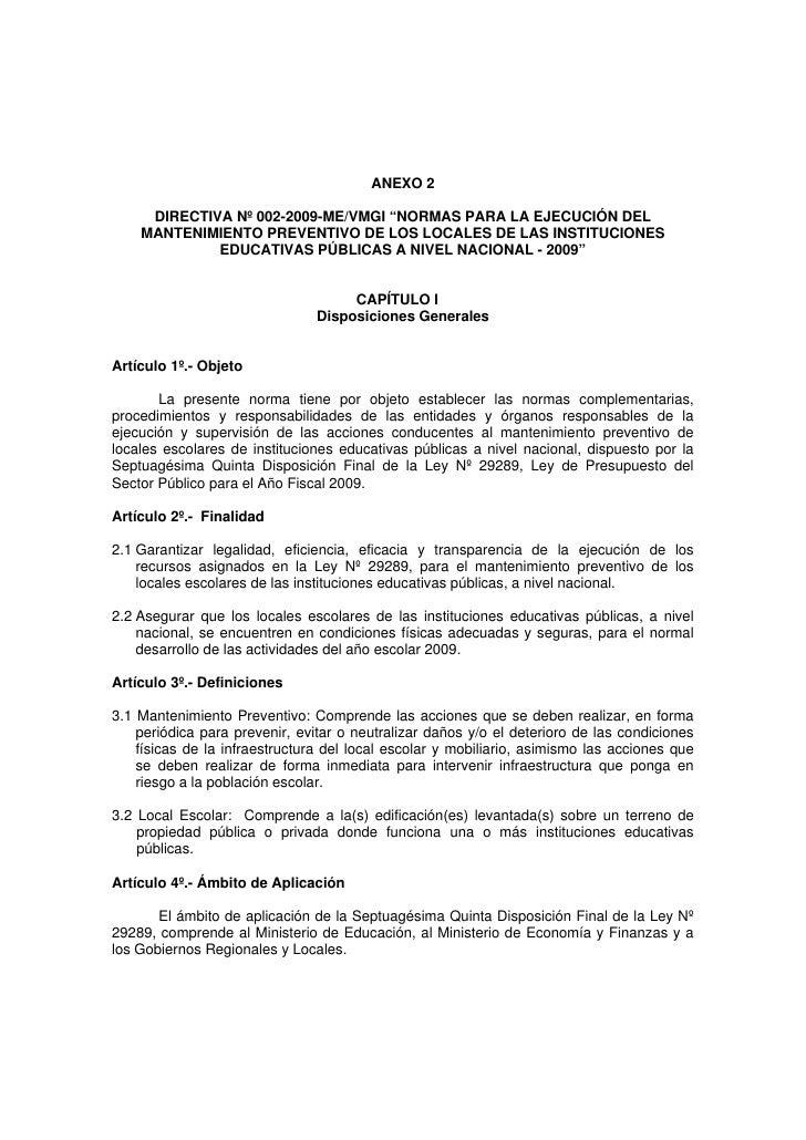 """Directiva Nº 002 2009 Mevmgi """"Normas Para La EjecucióN Del"""