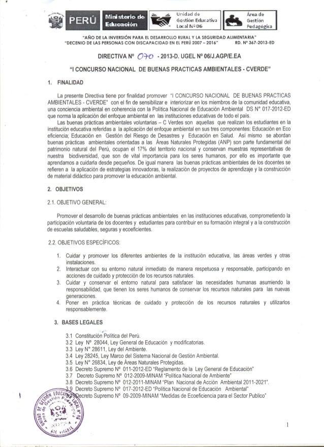 I CONCURSO NACIONAL DE BUENAS PRÁCTICAS DOCENTES  CVERDE (Directiva ugel06-70-2013)
