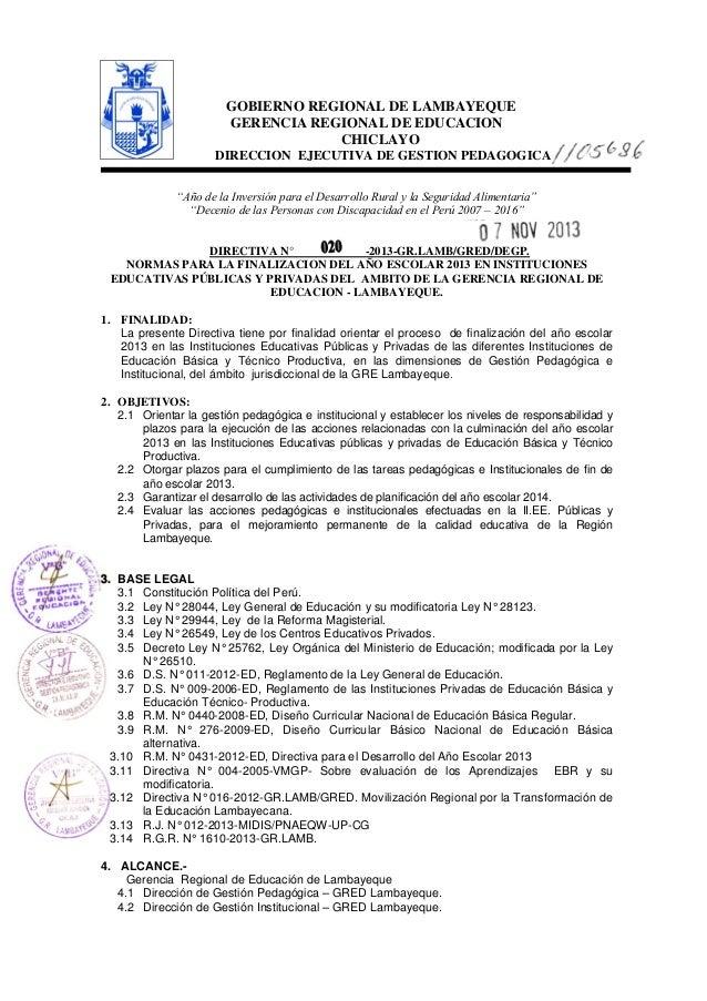"""GOBIERNO REGIONAL DE LAMBAYEQUE GERENCIA REGIONAL DE EDUCACION CHICLAYO DIRECCION EJECUTIVA DE GESTION PEDAGOGICA """"Año de ..."""
