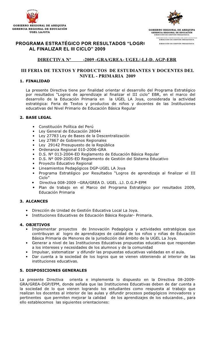 GOBIERNO REGIONAL DE AREQUIPA GERENCIA REGIONAL DE EDUCACIÓN                                         GOBIERNO REGIONAL DE ...