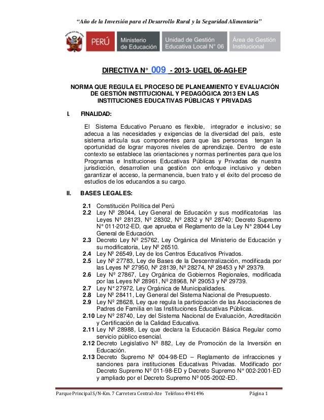 """""""Año de la Inversión para el Desarrollo Rural y la Seguridad Alimentaria""""                    DIRECTIVA N°         009     ..."""