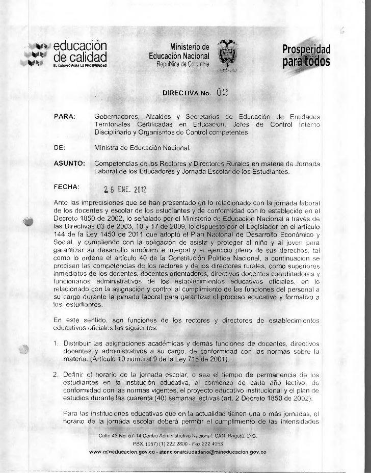 Directiva ministerial 02 enero 26 de 2012