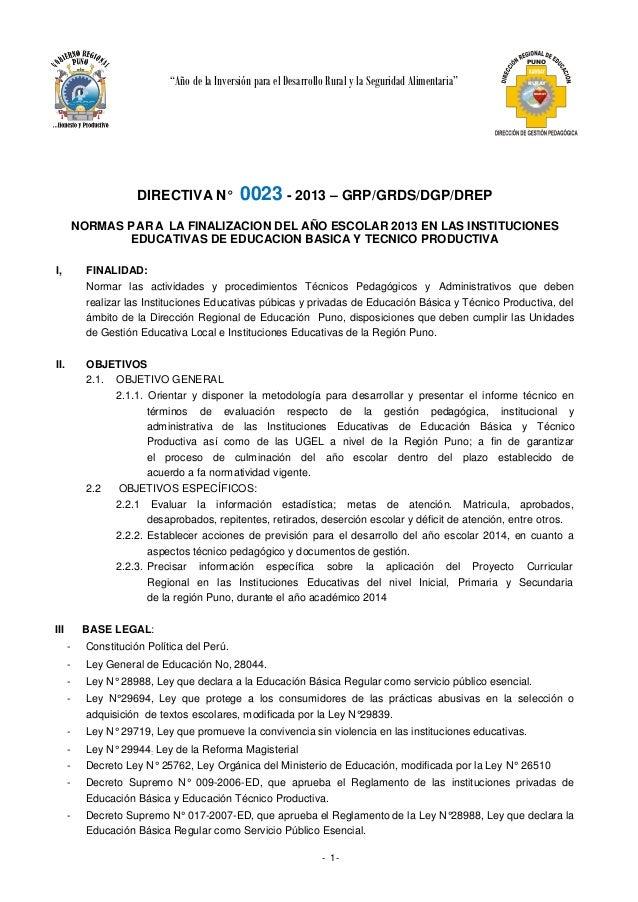 """PUNO  """"Año de la Inversión para el Desarrollo Rural y la Seguridad Alimentaria""""  DIRECTIVA N°  RURAY AY CH MUNAY YA  0023 ..."""