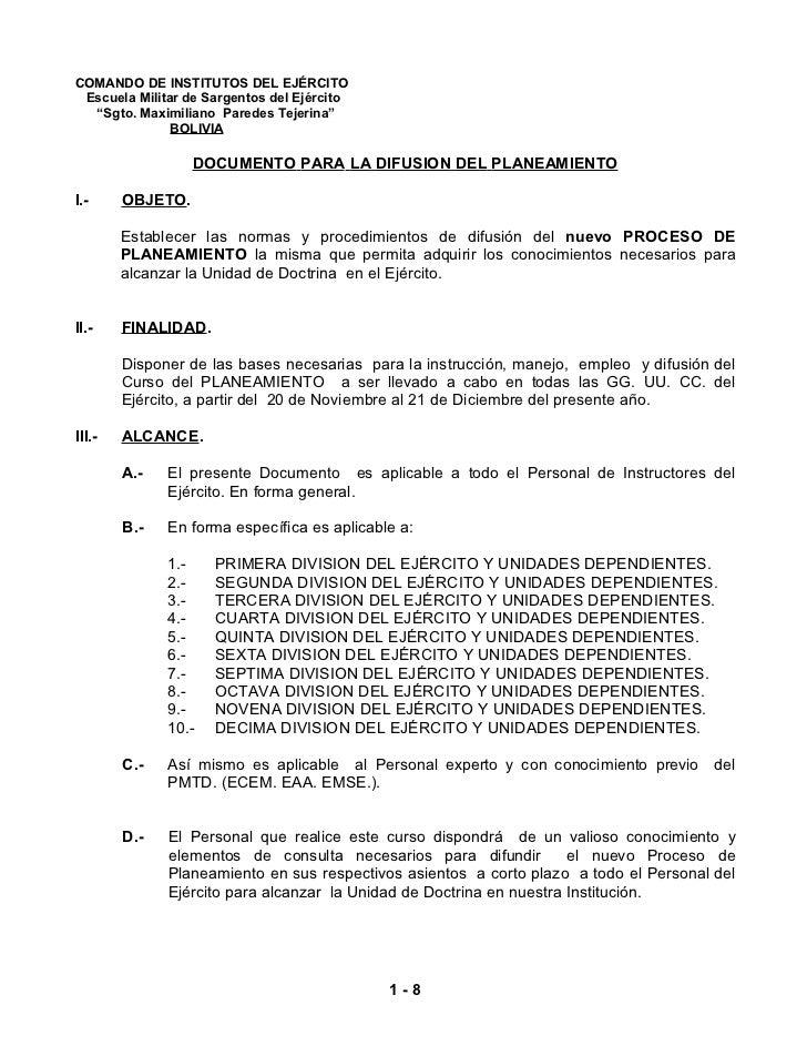 """COMANDO DE INSTITUTOS DEL EJÉRCITO Escuela Militar de Sargentos del Ejército  """"Sgto. Maximiliano Paredes Tejerina""""        ..."""