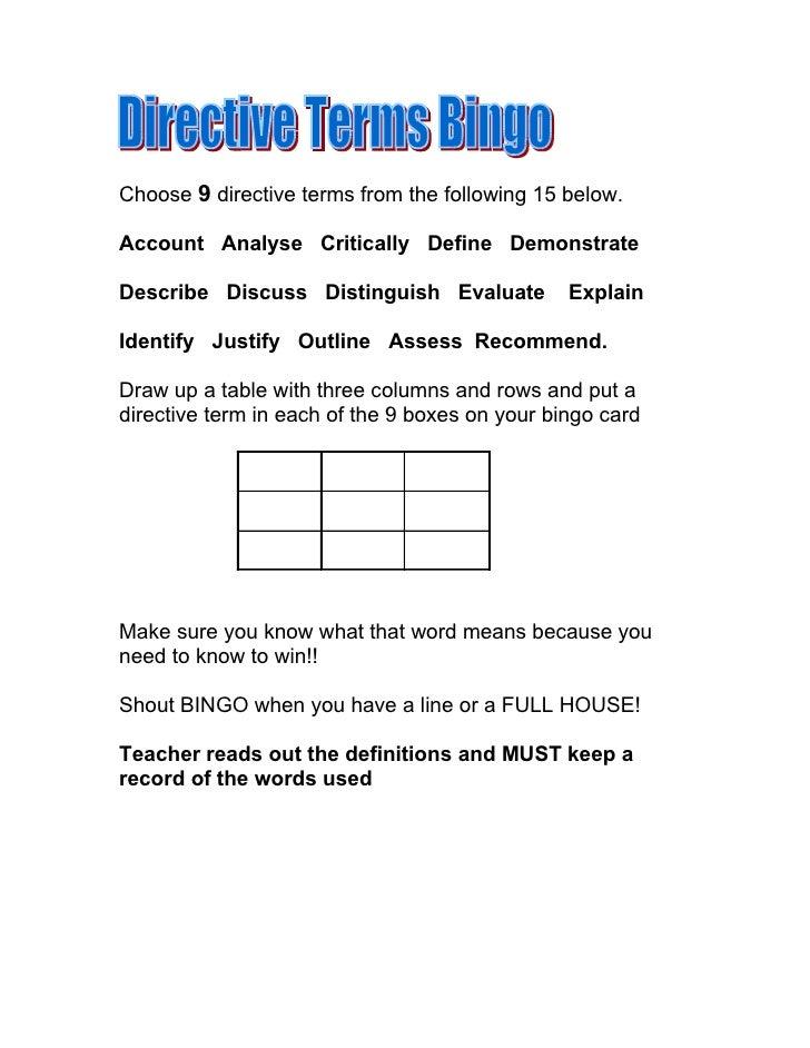 Directive Terms Bingo