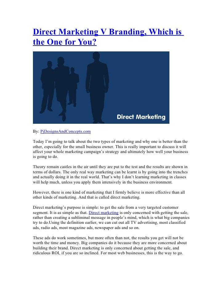 Direct Marketing Vs Branding?