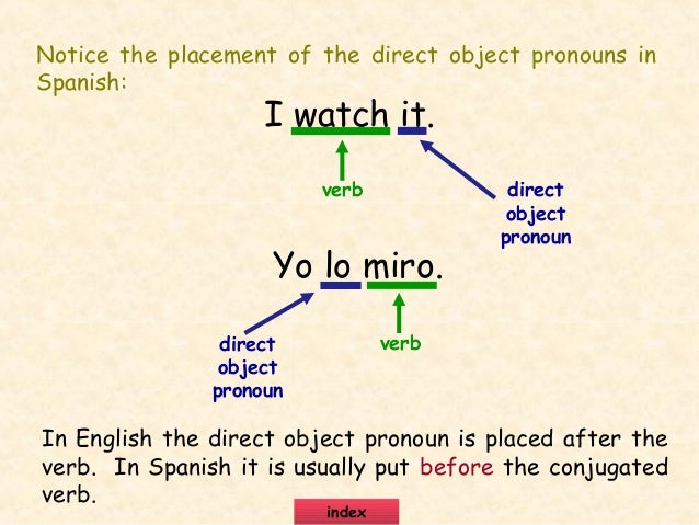 Direct and indirect object exercises in spanish