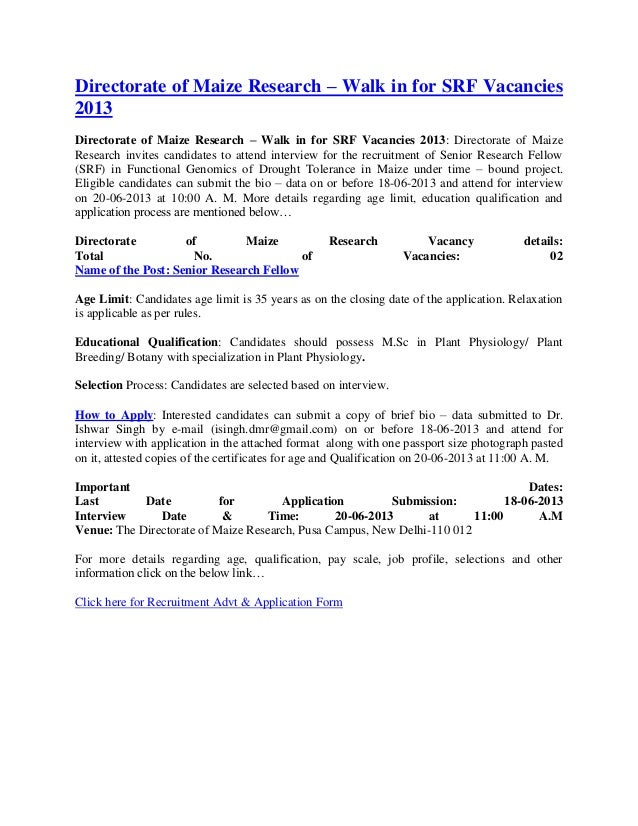 Directorate of maize research – walk in for srf vacancies 2013