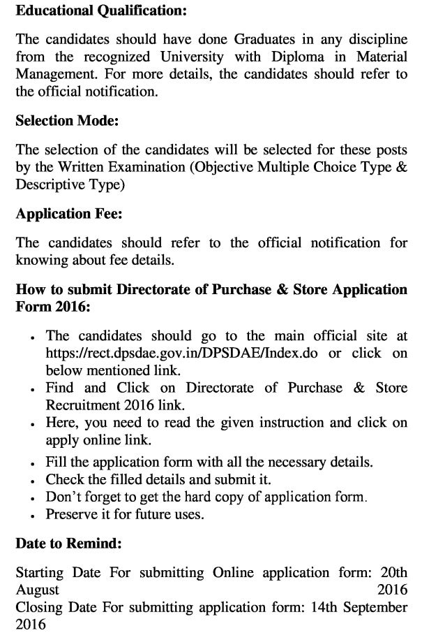 Directorate of purchase & store govt job recruitment 2016 latest 84 jpa & js vacancy exam result
