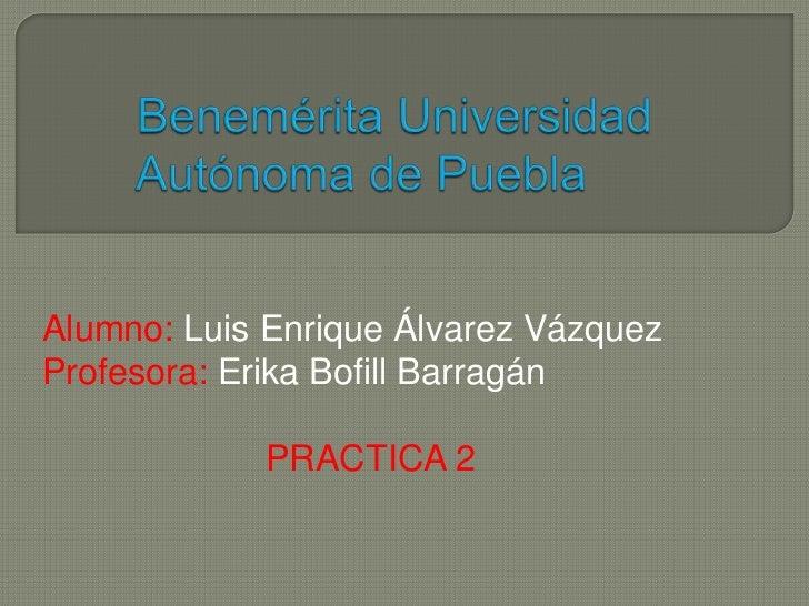 Alumno: Luis Enrique Álvarez VázquezProfesora: Erika Bofill Barragán            PRACTICA 2