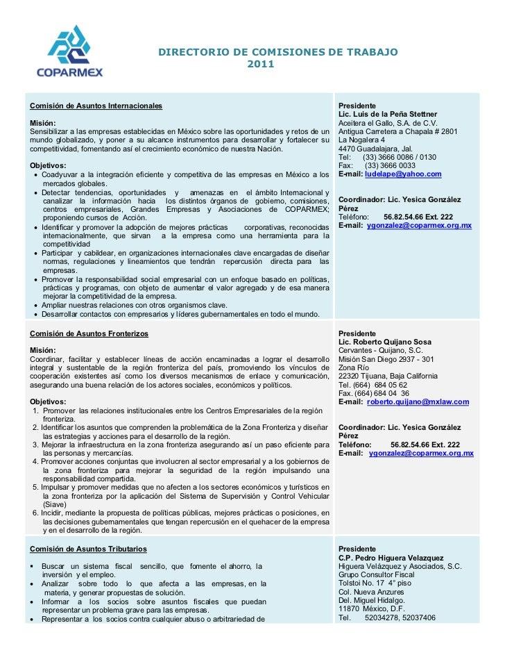 Coparmex: Directorio Comisiones de Trabajo 2011