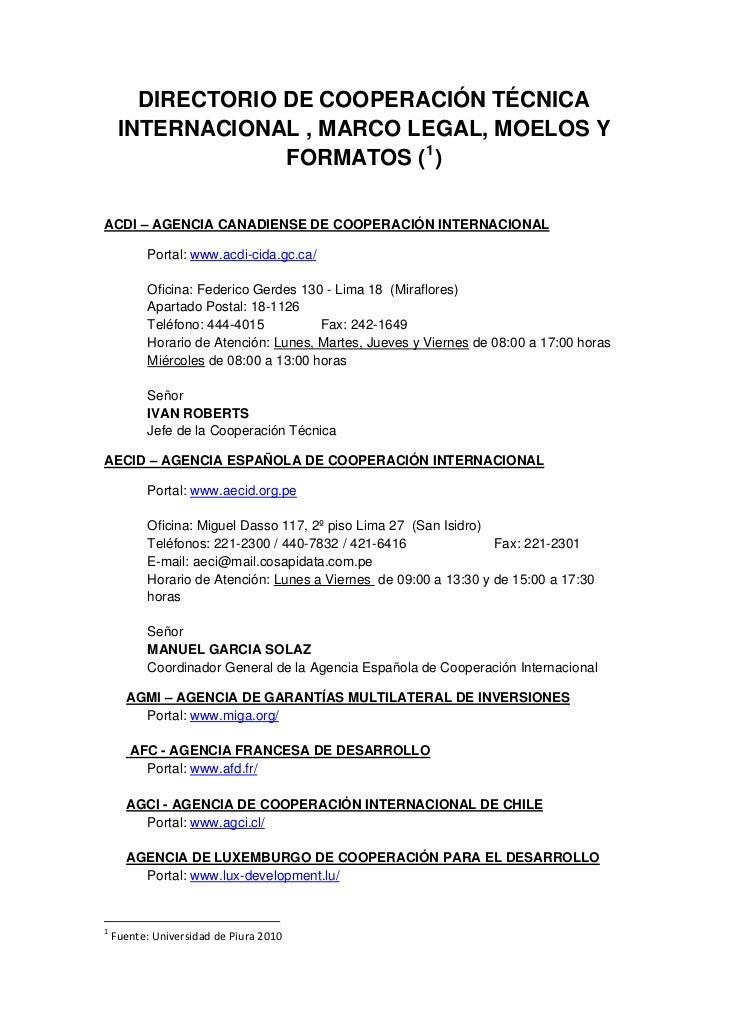 DIRECTORIO DE COOPERACIÓN TÉCNICA     INTERNACIONAL , MARCO LEGAL, MOELOS Y                  FORMATOS ( 1)ACDI – AGENCIA C...