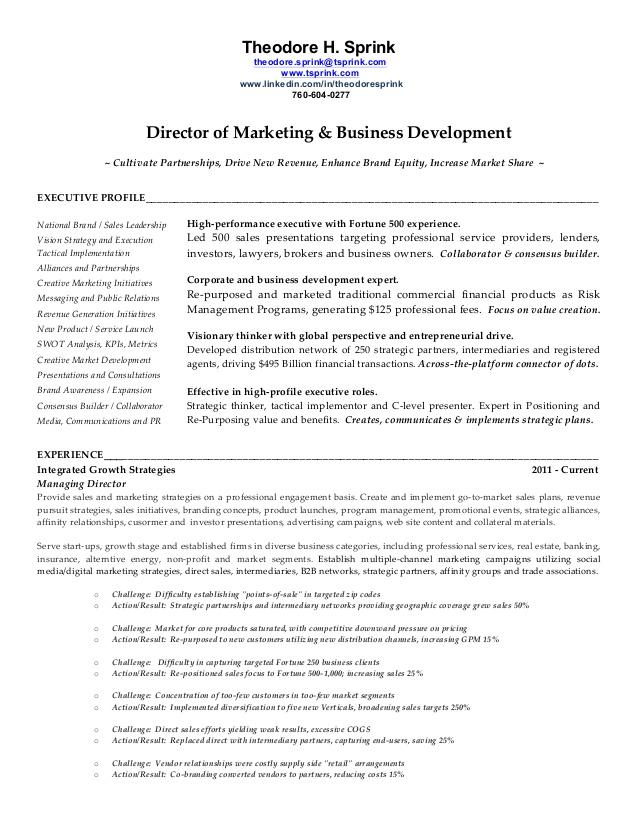 Director Of Marketing Business Development Resume