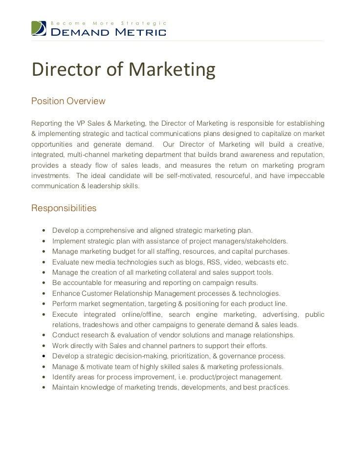director of marketing description