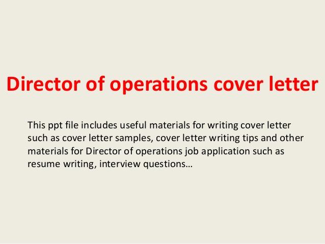 Vp operations cover letter samples