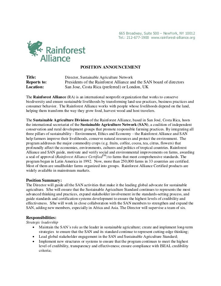 POSITION ANNOUNCEMENT:  Director, Sustainable Agriculture Network
