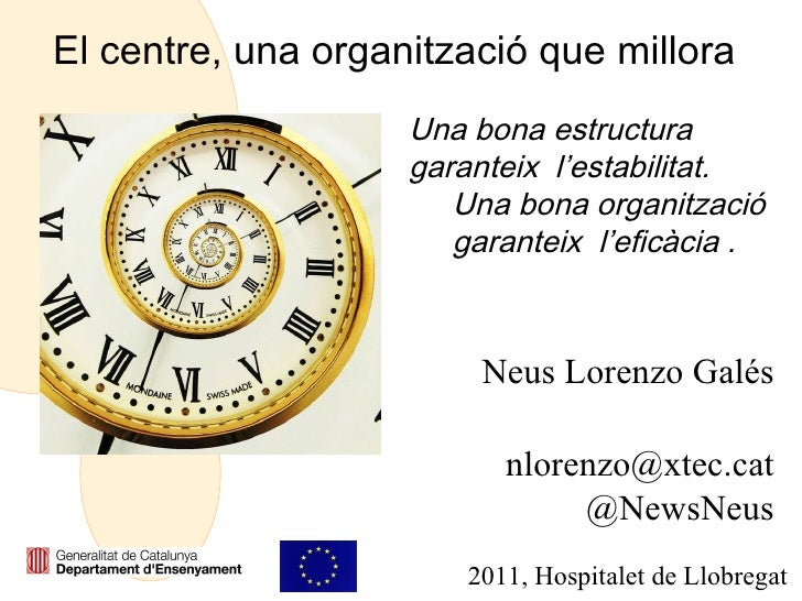 El centre, una organització que millora Neus Lorenzo Galés [email_address] @NewsNeus 2011, Hospitalet de Llobregat Una bon...
