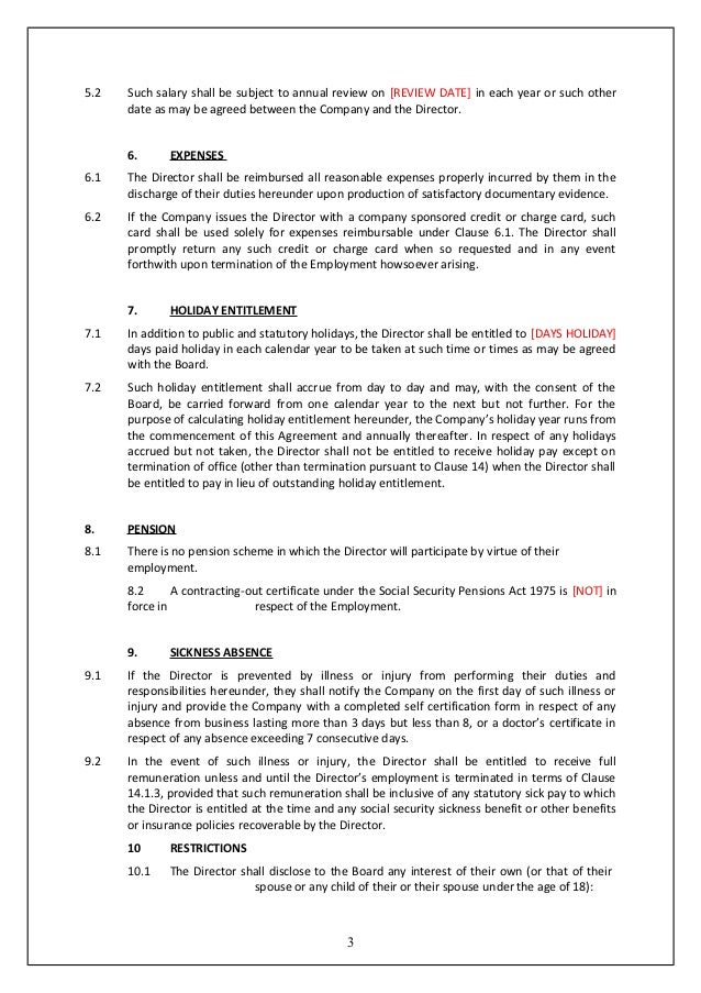 Director service agreement template uk template directors for Vesting certificate template