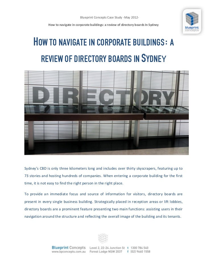 Blueprint Concepts Case Study -May 2012-               How to navigate in corporate buildings: a review of directory board...