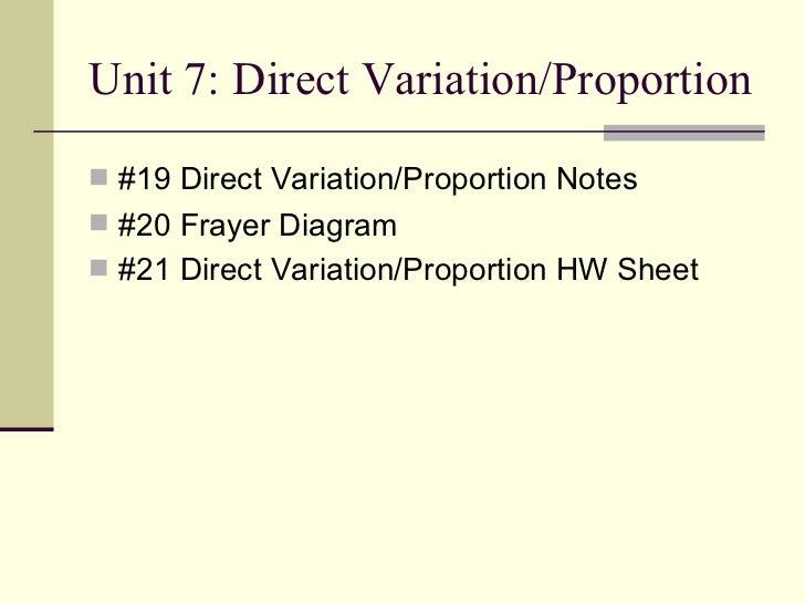 Unit 7: Direct Variation/Proportion <ul><li>#19 Direct Variation/Proportion Notes </li></ul><ul><li>#20 Frayer Diagram </l...