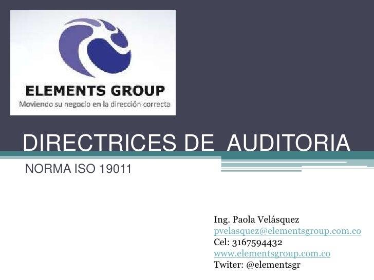Directrices de auditoria iso 19011